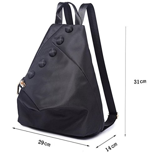 Damen Wasserdichte Nylon Rucksack Freizeit Reisetasche,Khaki Black