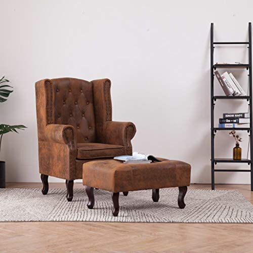 Tidyard- Chesterfield-Sessel und Fußhocker Braun Wildleder-Optik Chesterfield Armchair with Footstool Relax Armchair Upholstered Chair Recliner Chair Lounge Chair