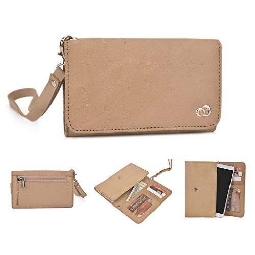 Kroo Pochette en cuir véritable pour téléphone portable pour Lenovo a536/a3900 Marron - marron Marron - marron