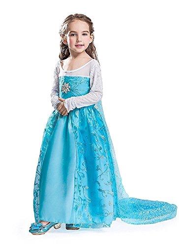 Inception Pro Infinite Größe 110 - 4 - 5 Jahre - Kostüm - Karneval - Halloween - ELSA - Kleines Mädchen - Blumenumhang - Frozen (5 Halloween Kleine Mädchen)