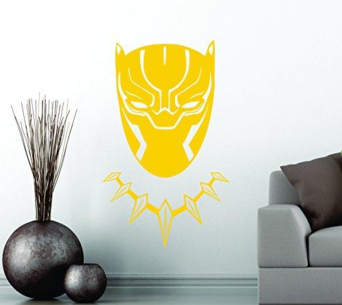 Black Panther Wakanda King cabeza máscara Superhero Niños Regalo Décor Art vinilo decorativo adhesivo de decoración de coche pegatina, amarillo