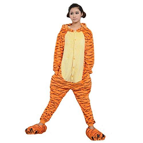JOMNM Unisex Schlafanzug Erwachsene Jumpsuit Tier Halloween Kostüm Party Kigurumi Cosplay Fleece-Overall Pyjama Sleepsuit Homewear. (L (170-180cm), (Für Tier Kostüme Halloween)