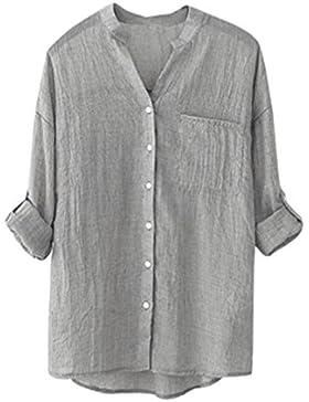 Camisa de manga larga sólida de algodón de las mujeres Blusa suelta ocasional Tops de botones