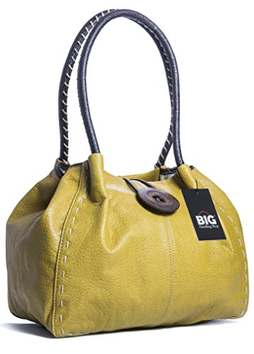 Big Handbag Shop moderne Damen Schultertasche Boutique aus Kunstleder Light Tan