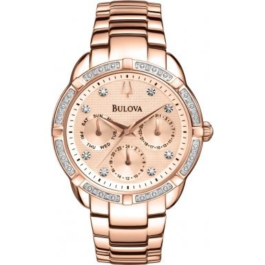 Bulova Diamond Girl's Quartz Watch with Rose Gold Dial Analogue Display and Stainless Steel Rose Gold Plated Bracelet 98W178
