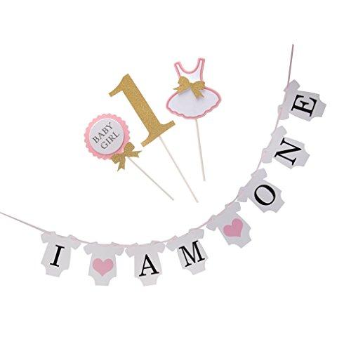 MagiDeal Party Banner Girlande + 3Stück Cake Topper Dekoration - Rosa (3 Erste Topper Hochzeitstorte)