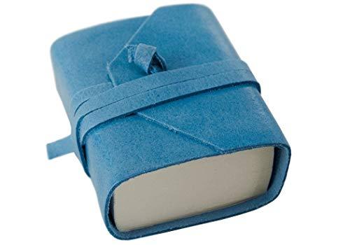 Leder-Tagebuch Capri-Leder, Aeroblue, kleine unlinierte Seiten, handgefertigt in Italien