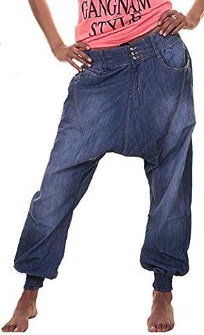 Damen Sexy Haremshose Pumphose Pluder Boyfriend Sarouel-Aladin Harem Hose Jeans 870 (M)