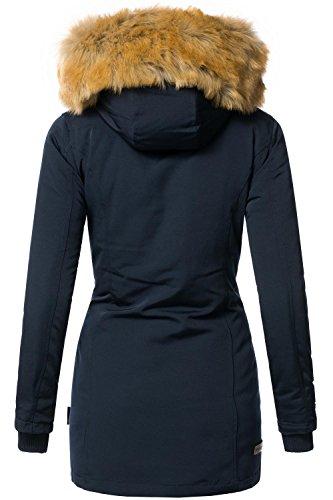 Marikoo Damen Mantel Wintermantel Winterparka Karmaa (vegan hergestellt) 11 Farben + Camouflage XS-XXXXXL Navy