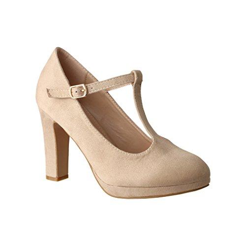 Elara Damen High Heels | Bequeme T-Spangen Pumps | Riemchen Vintage | Chunkyrayan | 4685-Beige-38