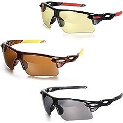 Aroncent Herren Damen Sonnenbrille, Coole Halbrahmen Sonnenbrille, Strahlenschutz Sportsonnenbrille, 3 Farben: Gelb, Schwarz, Rot