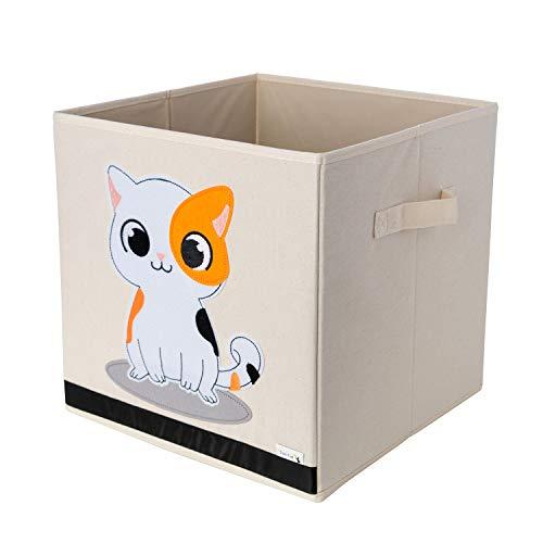 Aufbewahrungsbox und Organisator für Kinderspielzeug aus strapazierfähigen, verstärktem Canvas-Stoff, 33x33x33cm Würfel mit Katzen-Motiv von Sun Cat
