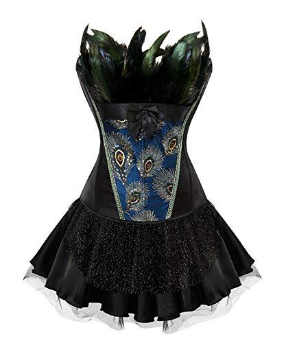 CHARMW Damen Gotik Corsagenkleid Bustier Vintage Korsage Corsage mit Rock Burlesque Vollbrust Petticoat Kostüme Pfau Pattern mit Federn (4XL, Schwarz)