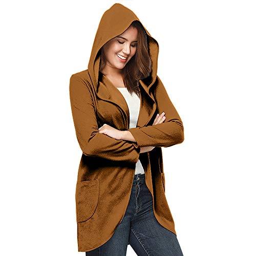Damen Strickjacke mit Kapuze Langarm Oversize Boyfriend Style Lang Kimono Cardigan Strickmantel von...