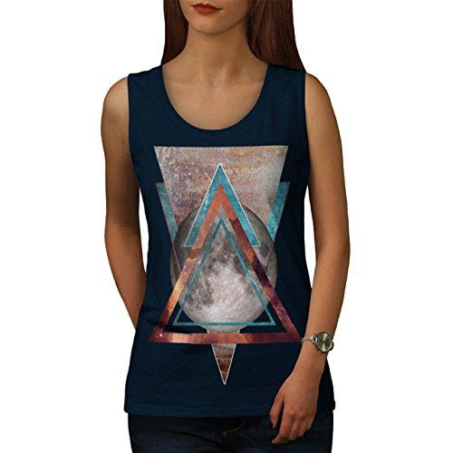 Mond Abstrakt Kunst Mode kosmisch Gestalten Damen Schwarz S-2XL Muskelshirt | Wellcoda Marine