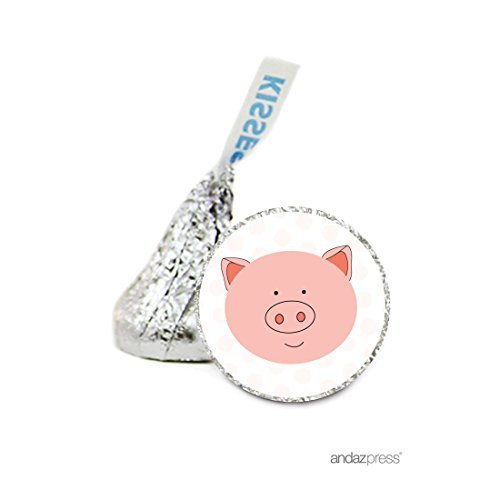 Andaz Press Chocolate Drop Labels Stickers, Birthday, Pig, 216-Pack, For Hershey's Kisses Party Favors, Gifts, Decorations by Andaz Press