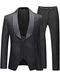 f09ef5f630eb Sliktaa Costume Homme 3 Pièces Noir Formel Élégant Haut de Smoking Mariage  Business Bal Veste Gilet