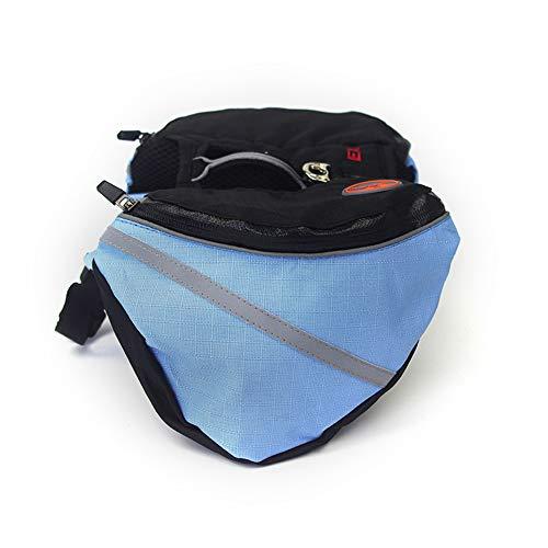 BABYS\'q Hund Rucksack, Verstellbare Satteltasche Stil Hund Zubehör Mit Reflektierenden Band Tasche, Für Wandern Camping Wandern Ausbildung,Blue,XS