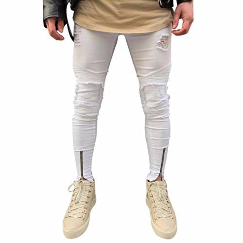 Herren Jeans Hose Jeanshosen Slim Fit Strech Skinny Destroyed Löchern Jeans Denim (29, Weiß) (Skinny Jeans, Weiße Männer)