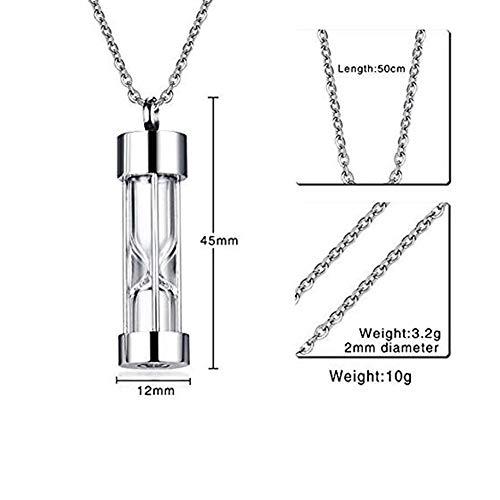 NWZW Edelstahl Sanduhr-Glas Urne Schmuck Halskette Für Asche Urnen-Anhänger Für Asche Andenken Aufschrift Unisex,Silver (Männer Blue Für Parfüm Sky)