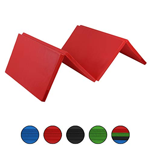 ALPIDEX Klappbare Weichbodenmatte Turnmatte 180 x 60 x 5 cm RG 18 mit Klettecken 2fach klappbar mit Antirutschboden, Farbe:rot