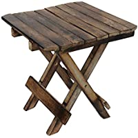 Shah Handicrafts Wooden Handicarft Folding Stool for Living Room Side Table 10Inch.(Brown)