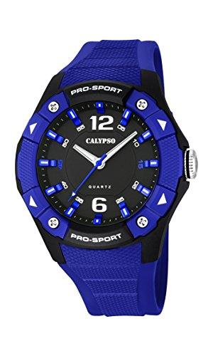 Calypso–Reloj de hombre de cuarzo con Esfera Negra Pantalla Analógica y Azul Correa de plástico K5676/4