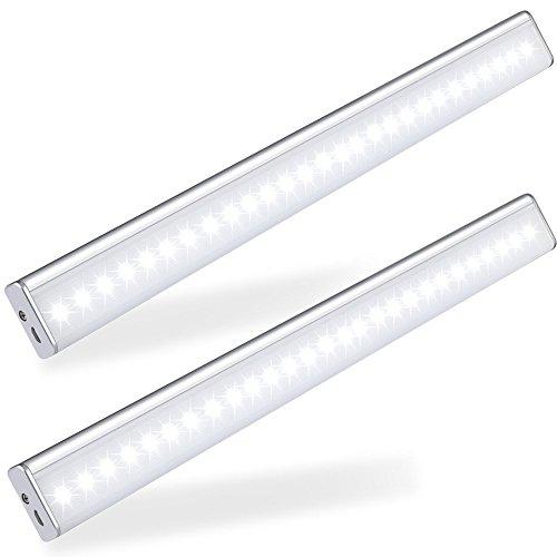 LOFTER Lampe Placard Détecteur Mouvement Lampe Placard Sans Fil et Rechargeable avec 4 Modes d'Éclairage Blanc Froid – 27 LED – LOT de 2