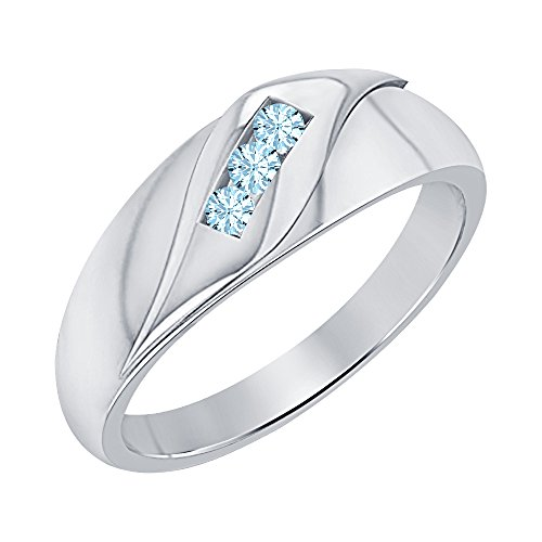 RUDRAFASHION 14k Rose Gold Plated Round Cut Blue Sapphire 925 Sterling Silver Mens Anniversary Band Ring