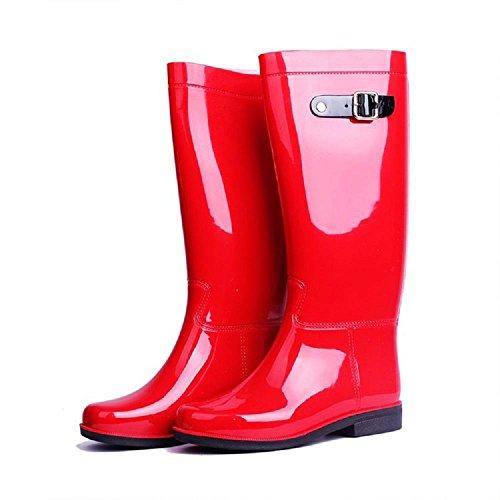 PVC Antiscivolo Resistente all'usura Moda Stivali da pioggia Red