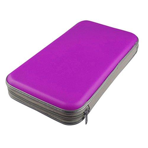 CD protector 80pcs de DVD de almacenamiento de plástico duro resistente a Casos de agua portátil (púrpura)