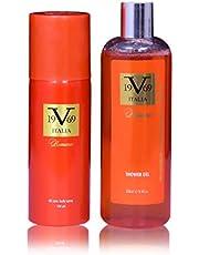 Italia V 19.69 ROMANCE Gift Set For Men & Women (All Over Body Spray and Body Wash)