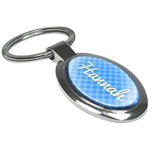 Schlüsselanhänger mit Namen Hannah - Motiv Karomuster - Namensschlüsselanhänger, personalisierter Anhänger, Talisman, Anhänger, Chrom