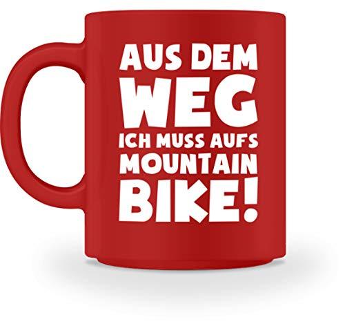 shirt-o-magic Mountainbiker: Muss aufs Mountainbike! - Tasse -M-Rot