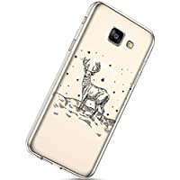 Handytasche Samsung Galaxy A5 2016 Crystal Clear Durchsichtige Hülle Ultradünn Transparent Handyhüllen TPU Bumper Case Silikon Hülle Cover,Weihnachten Elch
