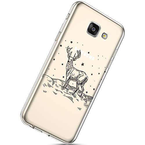 Herbests Kompatibel mit Handytasche Galaxy A5 2016 Crystal Clear Durchsichtige Hülle Ultradünn Transparent Handyhüllen TPU Bumper Case Silikon Hülle Cover,Weihnachten Elch