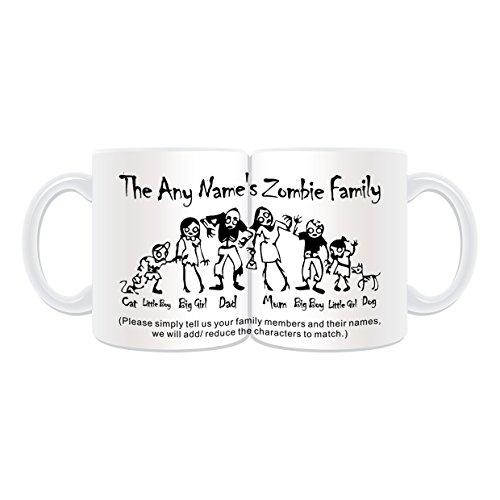 Personalised Gift - Zombie Family Mug (Scary Design Theme