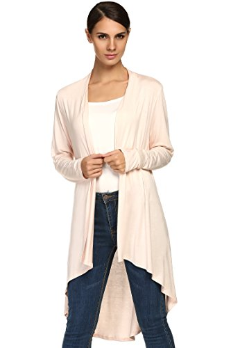 ACEVOG Casual Damen Langarm Strickjacke Asymmetrische Loose Fit Shirts Cardigan Top Sommerjacke Blusen Gr.34-40 (Ärmel Jersey Lange Himmel, Blauer)