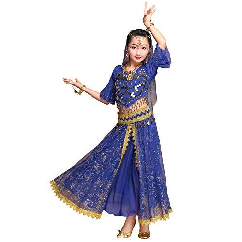Mädchen Kostüm Harem Bauchtänzerin - Wgwioo Mädchen Bauchtänzerin Prinzessin Kostüm Halloween Kleidung Karneval Kleid Tanz für Kinder,Blue,M