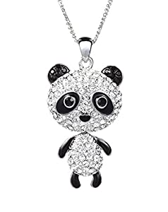 Neoglory Jewellery Czech Rhinestone Panda Ming Long Chain Necklace For Girls Chain Length:27""