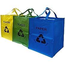 @ FiNeWaY SET OF 3 bolsas de reciclaje plástico de colores papel de almacenamiento bolsa de basura