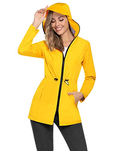 Aibrou Women Hooded Jacket Long Sleeve Outdoor Waterproof Lightweight Thin Windbreaker Raincoats Jackets for Outdoor Activities