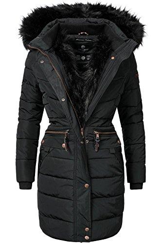 (Navahoo Damen Winter Mantel Steppmantel Paula (vegan hergestellt) Schwarz Gr. S)
