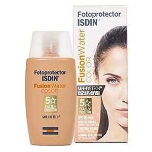 ISDIN – Fotoprotector Fusion Water COLOR SPF 50 – Protector solar facial de fase acuosa con color para uso diario, Cobertura natural, 50 ml