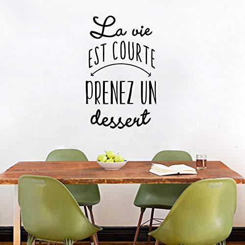 Französische Version des Lebens zu kurz, um Dessert Vinyl Wandaufkleber Küche Dessert Wandkunst Aufkleber Wandbild Shop Shop Dec 56x36cm zu nehmen
