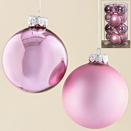 12tlg Dekokugel Hänger Kugel Zartrosa Glas lackiert rosa D8cm (3331500)