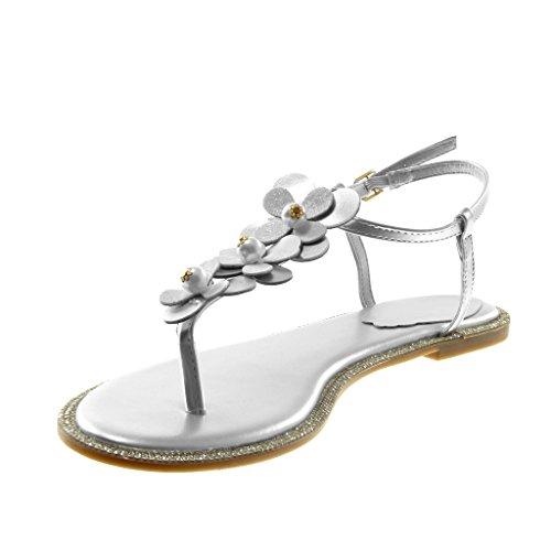 Angkorly Scarpe Moda Sandali Infradito con Cinturino Alla Caviglia Cinturino Donna Fiori Perla Strass Tacco a Blocco 1 cm Argento