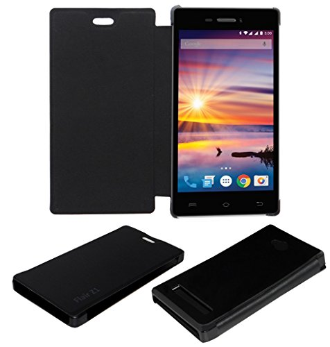 ACM LEATHER DIARY FOLIO FLIP FLAP CASE FOR LAVA FLAIR Z1 MOBILE FRONT & BACK COVER BLACK  available at amazon for Rs.179
