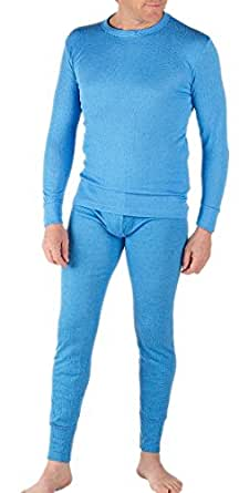 Mens Thermal Underwear Set Long Sleeve Vest & Long Johns [Thermals] (Blue, Small: To Fit Chest 32-34 Inches 81-86)