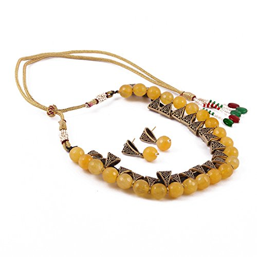 KS Jewellery Yellow Colour Beads Fashionable Necklace Set with Tops Earrings for...